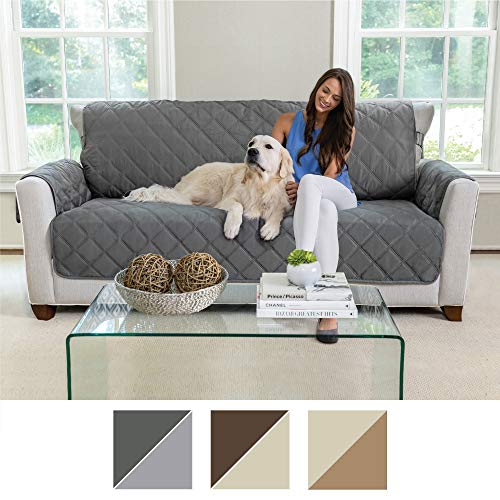 MIGHTY MONKEY Premium Reversible Couch Slipcover, Furniture Protector, 2'' Elastic Strap, Machine Washable, Cover Perfect for Kids, Dogs, Cats, Seat Width Up to 70'' (Sofa: Charcoal/Light Gray) by MIGHTY MONKEY