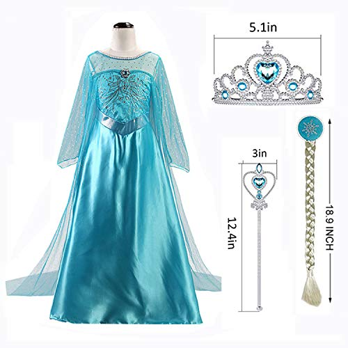 Snow Queen Elsa Princess Party Dress Costume with Accessories Elsa Dress up Wig Crown and Wand,for Girls 3-8years (120cm/4-5Y, Blue)