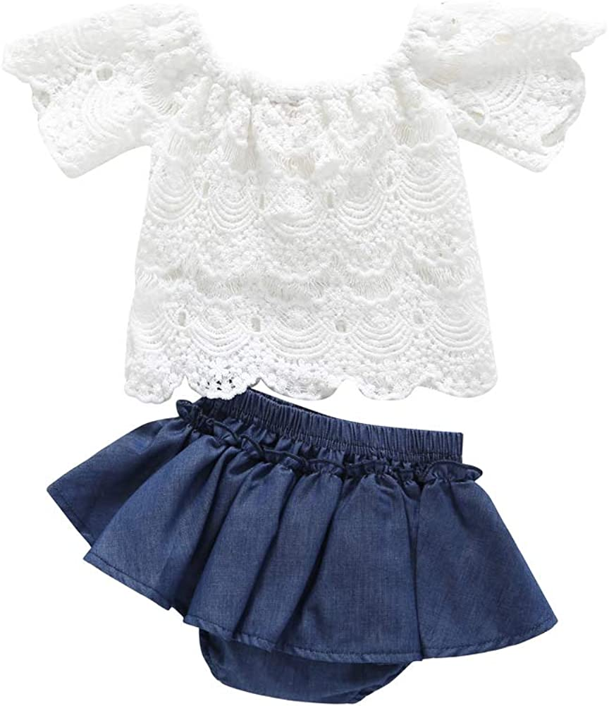 Toddler Baby Girls 2pcs Outfits Lace Short Sleeve Off Shoulder Shirt Top+Denim Short Pants Skirt