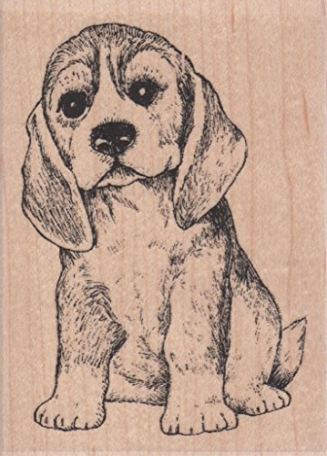 Beagle Dog Wood Mounted Rubber Stamp (E7670)