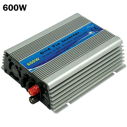 Power Inverter - MPPT Function 600W On Grid Tie Micro Inverters Pure Sine Wave 22-60VDC to 110V or 230VAC Inverters for 30V or 36V Solar Panel ()