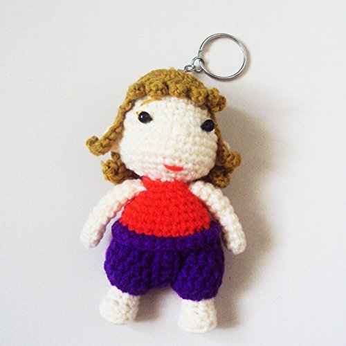 Thailand National Costume Men And Women (Agility Thai Spiral Hair Girl in Red & Purple National Costume Cute Doll Knitting Yarn Crochet Key Chain, Key Ring)