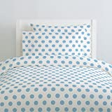 Carousel Designs Lake Blue Brush Dots Duvet Cover Twin Size - Organic 100% Cotton Duvet Cover - Made in the USA