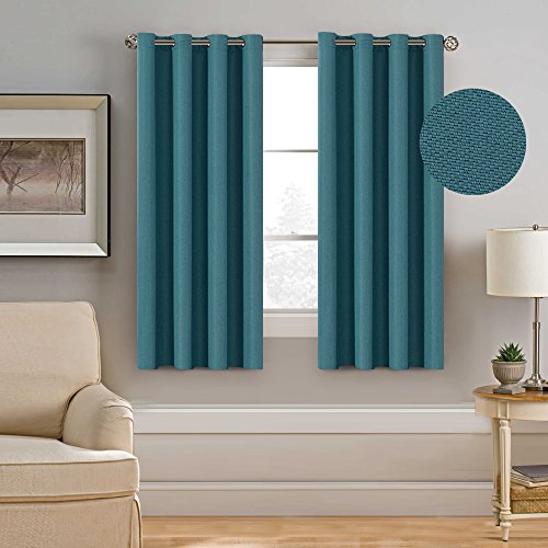 H.Versailtex Ultra Elegant Rich Linen Grommet Curtain for Small Window,Room Darkening,Energy Efficient&Warm Keeping Winter Panels for Bedroom,52 by 63 Inch-Teal (Set of 1) (Gray And Teal Bedroom)