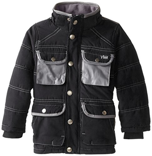Boys' Little Jacket Hooded YMI Pocket Black Pleather Contrasting with Bubble qFBUAU5xw1
