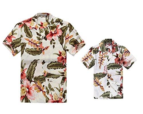 Matching Father Son Hawaiian Luau Outfit Men Shirt Boy Shirt Shorts Cream Rafelsia -