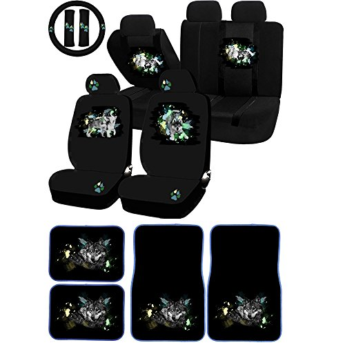 UAA 26pc Wolf Pack Universal Seat Cover & Protector Wolf Carpet mat Set