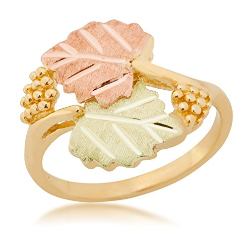 Bypass Frosty Leaves Ring, 10k Yellow Gold, 12k Green and Rose Gold Black Hills Gold Motif, Size 4 by Black Hills Gold Jewelry