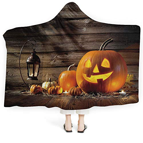 iPrint Blanket Adults Harvest Plush Wearable Hooded Blanket Halloween Inspired Pattern Vivid Cartoon Style Plump Pumpkins Vegetable Decorative (Kids 50