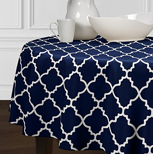 A LuxeHome Navy Blue and White Modern Contemporary Trellis Tablecloths Dining Room Kitchen Round 90