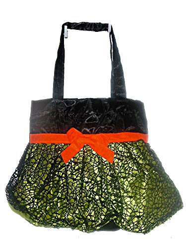 Halloween Satin Bags with Ruffled Skirt and Black Web Overlay -