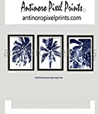 Wall Art Watercolor Dark Navy Blue White California Florida Beach House Wall Art Pictures - Set Includes (3) 16x20 Wall Art Prints - (UNFRAMED)