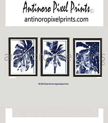 Wall Art Watercolor Dark Navy Blue White California Florida Beach House Wall Art Pictures - Set Includes (3) 16x20 Wall Art Prints - (UNFRAMED) by Antinoro Pixel Prints