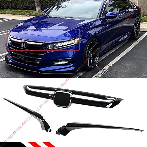 Fits for 2018 2019 Honda Accord LX EX EX-T Touring Sport Glossy Black Chrome Garnish Trim Sport Style Front Upper Grille Grill