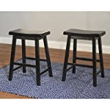 Bar Stools for Kitchen Island Target Marketing Systems Set of 2 24-Inch Belfast Wooden Saddle Stools, Set of 2, Black