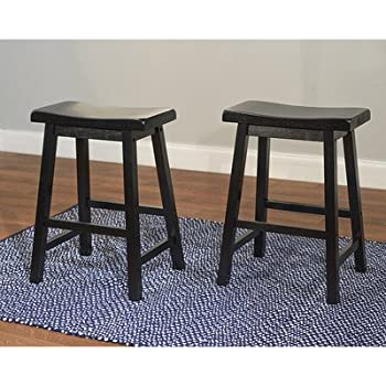 Target Marketing Systems Set Of 2 24 Inch Belfast Wooden Saddle Stools, Set  Of