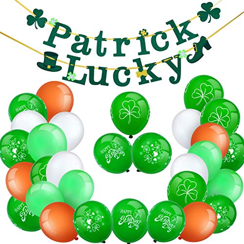 Chuangdi St. Patrick's Day Balloon Decoration Set, Including 2 Pieces Irish Lucky Banners, 15 Pieces Green Shamrock Balloons and 15 Pieces Colored Latex Balloons -