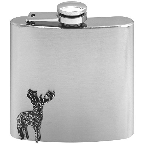 - English Pewter Company 6oz Stainless Steel Liquor Hip Flask With Pewter Deer [CS236]