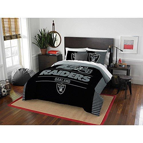 3pc NFL Raiders Comforter Full Queen Set, Black Grey Football Themed Bedding Sports Patterned, Polyester, Unisex, Team Logo Fan Merchandise Athletic Team Spirit Fan (Raiders Bed Comforter)