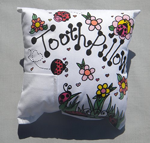 Bunnies and Bows Tooth Fairy Pillow with Tooth Fairy Dust and Poem - Ladybugs & Flowers - 6.5