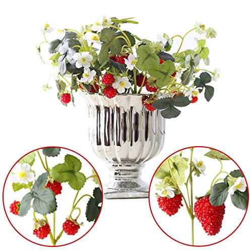 (NICROLANDEE 10pcs Artificial Flowers Red Strawberry and Raspberries Fruit Real Touch Fake Silk Flowers for Holiday Garden Home Yards Office Decorations Spring Wreaths Decor)