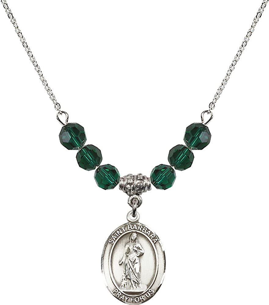 18-Inch Rhodium Plated Necklace with 6mm Emerald Birthstone Beads and Sterling Silver Saint Barbara Charm.