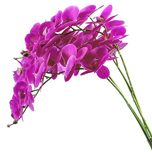 U'Artlines 38 Inch Artificial Phalaenopsis Flowers Branches Real Touch Orchids Flowers for Home Office Wedding Decoration (4pcs Purple Red Real Touch) (Large Artificial Orchid)