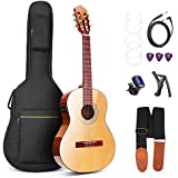 Classical Guitar, Classical Acoustic Guitar Electric 36 Inch 3/4 Professional Best Nylon-String Guitars for Beginners with Guitar Extra Strings, Strap, Capo, Picks, Cable, Gig Bag, by Vangoa