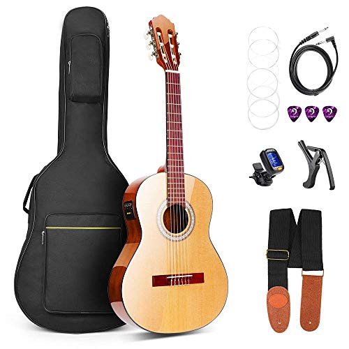 Classical Guitar, Classical Acoustic Guitar Electric 36 Inch 3/4 Professional Best Nylon-String Guitars for Beginners with Guitar Extra Strings, Strap, Capo, Picks, Cable, Gig Bag, by Vangoa Classical Electric Guitar Tuner