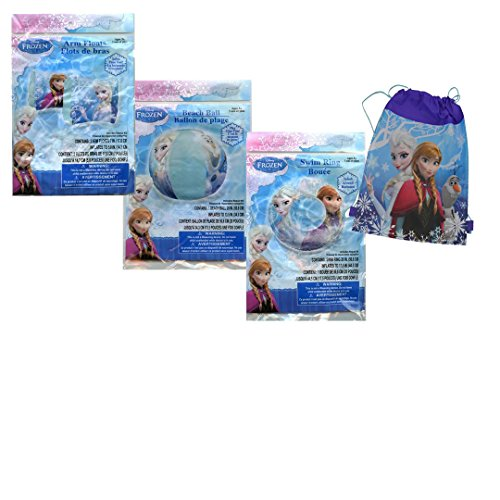 "Price comparison product image Disney Frozen 3pc ""Safety First"" Swim Ring + Arm Floaties + Beach Ball Set! Plus Bonus Disney Frozen Outdoor Beach/Pool Sling Bag Tote!"