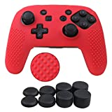 YoRHa Studded Silicone Cover Skin Case for Nintendo Switch Pro controller x 1(red) With Pro thumb grips x 8 For Sale