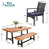 PHI VILLA 6 PCS Outdoor Patio Dining Set with 1