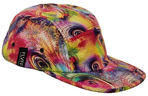 FLVFF 5 Panel Hat for Men Flat Brim Baseball Cap Urban Street Camper Hats (Trippy, Challis) ()