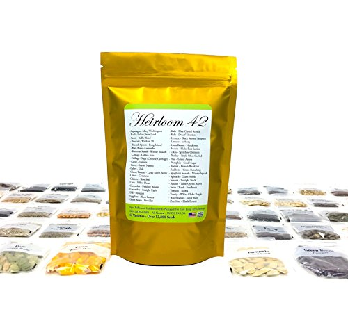 Heirloom Seed Bank with 42 Varieties of Non GMO Open Pollinated Vegetable Seeds All Non-Hybrid