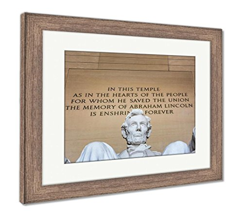 Ashley Framed Prints Abraham Lincoln Memorial Sitting Chair Famous Landmark Closeup Phrase, Wall Art Home Decoration, Color, 34x40 (frame size), Rustic Barn Wood Frame, (Lincoln Memorial Framed Photograph)