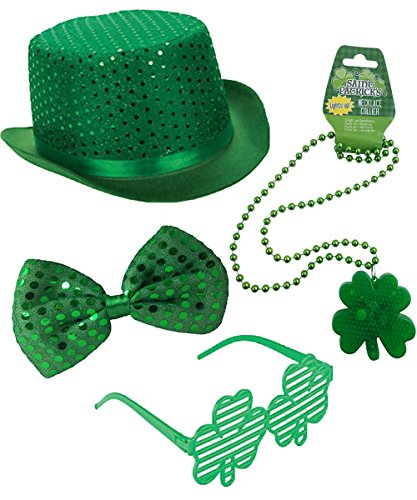 Combined Brands St Patricks Day Costume Set - Top Hat, Bow Tie, Light Up Necklace and Glasses (4 Piece -
