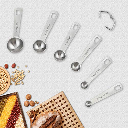 Yeawel 6PCS Measuring Spoons, Stainless Steel Metal Kitchen Measuring Tools Set, for Cooking Baking, for Dry or Liquid, Fits in Spice Jar