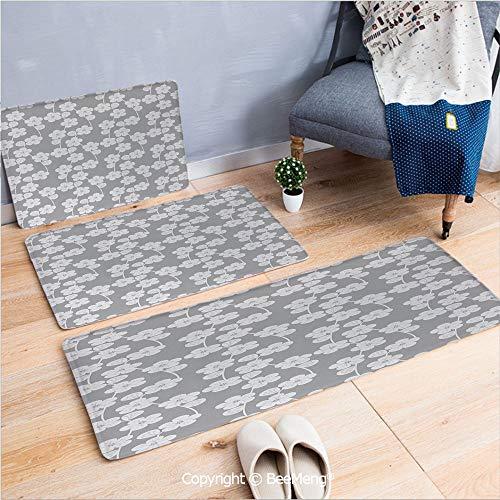 3 Piece Indoor Modern Anti-Skid Carpet Printed Block Bathroom Carpet,Geometric,Flower Patterned Monochrome Image Petals Bud and Stalks Vintage Foliage Design,Grey Beige,20x31/20x59/28x55 inch