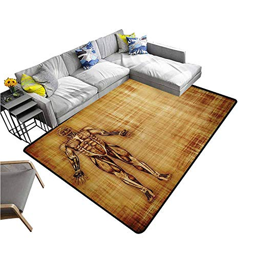 """Polyester Rubber Door Mats Human Anatomy,Grunge Old Parchment Effect Skeleton Muscles of Human Body Retro Art Print,Pale Brown 60""""x 72"""",Large Area Rugs"""