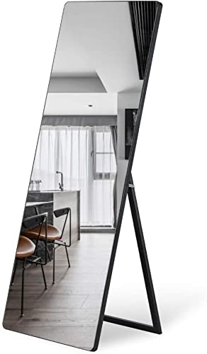 ZHOWI Floor Mirror Full Length Large Full Body Size Stand up Standing Wall Mounted Mirrors Bedroom Bathroom D cor Wood Frame Black Round Corner