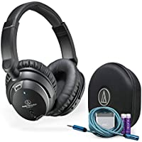 Audio-Technica ATH-ANC9 QuietPoint Active Noise-Cancelling On-Ear Headphones - INCLUDES - Carrying Case AND FiiO A1 Amp, Blucoil Extender PLUS 2-Pack AAA Batteries