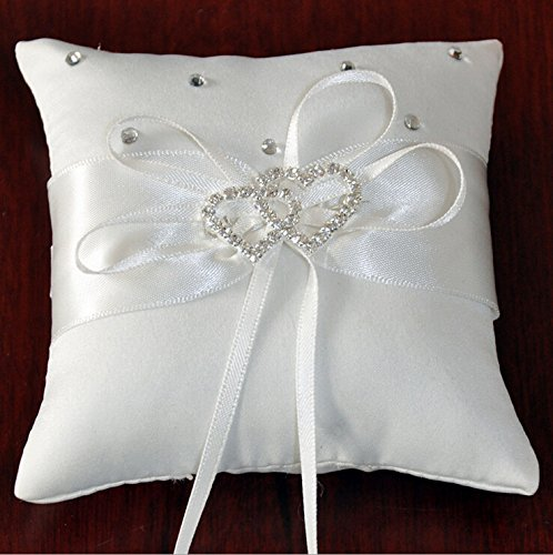 Krismile® White Double Heart Rhinestone Wedding Ring Pillow 6 inch x 6 inch