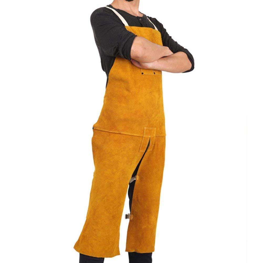 QEES Delantal de soldadura de cuero Blacksmith Delantal, resistente retardante de llama lateral Split pierna soldador, Unisex ajustable tienda de trabajo ...