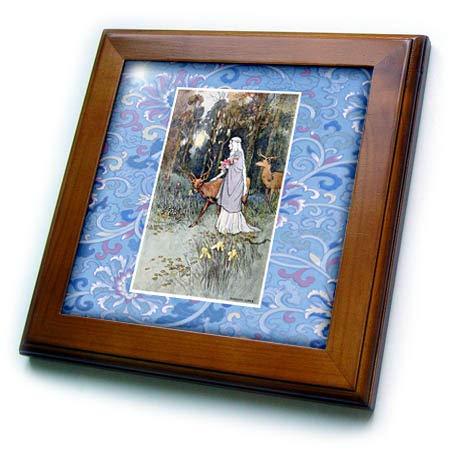 Tile Framed Deer - 3dRose Made in The Highlands - Art- Dun Deer - Print of a Woman and a Deer - 8x8 Framed Tile (ft_309587_1)