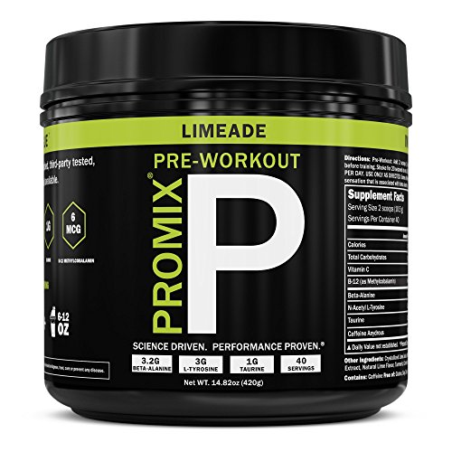Cheap Pre Workout Powder Supplement Natural Energy Focus I Keto Paleo I PROMIX Performance I Men & Women Beta Alanine Taurine Tyrosine Vitamin B12 Weight Fat Loss Blast Drink, Preservative Free, Limeade