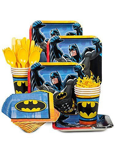 Costume Supercenter BBKIT794 Batman Birthday Party Standard Tableware Kit For 8 Guests