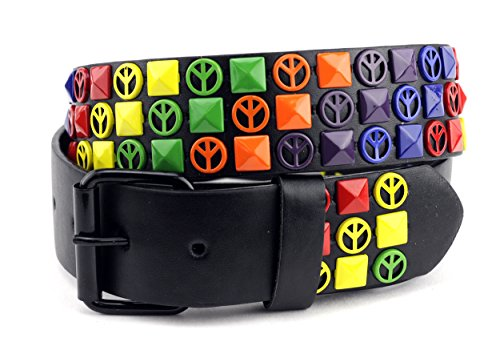 NYfashion101 Peace Sign Pyramid Stud Removable Roller Buckle Faux Leather Belt L