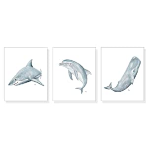 Sea Animals Ocean Art Prints Set of 3, Coastal Wall Art Beach Wall Decor, Blue Ocean Watercolors, Shark Dolphin Whale Art