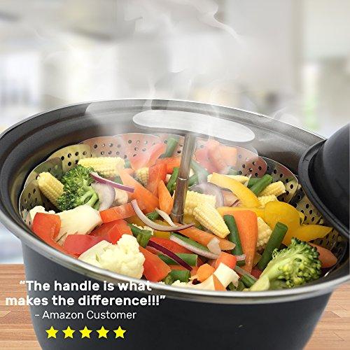 UNIQUE Vegetable Basket EXTENDABLE HANDLE - Instant Pot Pressure 6 & Quart - 100% Steel BONUS Accessories - eBook + Instapot as Egg Rack