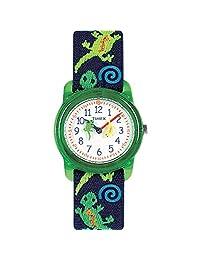 Timex Boys tiempo máquinas Reloj de correa de tela elástica analógico, Verde (Green Lizards)